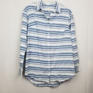 A.New.Day. Women's Blue & White Striped LS Top